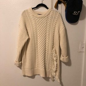J.Crew Cable Knit Sweater with Fringe